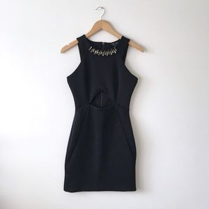 TOPSHOP Black Sleeveless Bodycon Dress w/ Cut Out